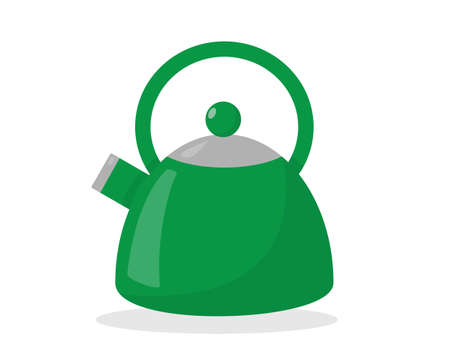 Green kettle isolated on the white background. Flat vector illustration.