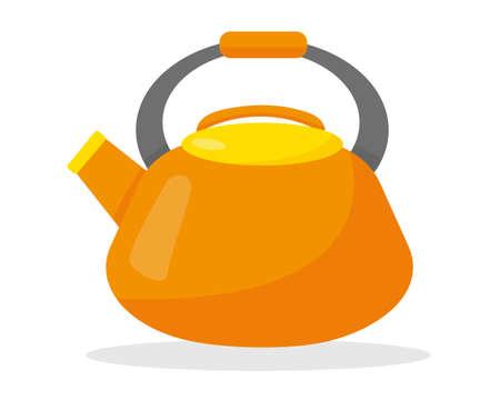 Orange kettle isolated on the white background. Flat vector illustration.