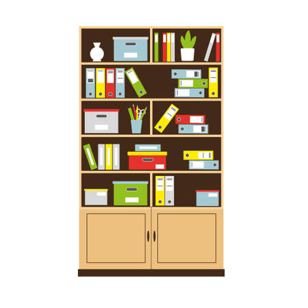 Office bookcase with books and folders for interior concept. Vector illustration. Ilustracja