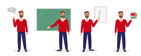 Teacher, lecturer or professor in different poses. Set of scenes with teacher. Welcome back to school concept. Vector illustration on white background.
