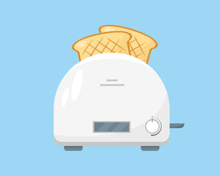 White toaster with pieces of bread ready to eat. Household appliance icon on blue background. Vector illustration.