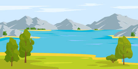 Summer or spring nature landscape. Lake or river and mountains. Time to travel concept. Vector background illustration. Vetores