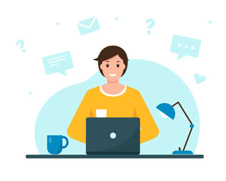 Young man working or learning from home. Home office, freelance or online education concept. Vector illustration.
