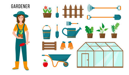 Gardener female character and set of gardening tools for his work. Profession people concept. Vector illustrations isolated on white background.