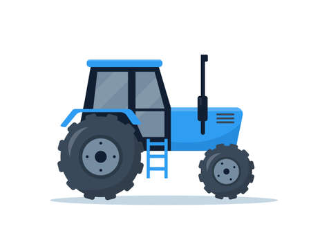 Farm tractor isolated on white background. Agricultural machinery for farmers work. Vector illustration.