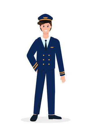 Pilot male character isolated on white background. Profession people concept. Vector illustrations.