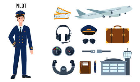 Pilot character and set of elements for his work. Profession people concept. Vector illustrations isolated on white background.