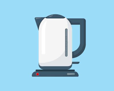 White kettle isolated on blue background. Household appliances vector illustration.