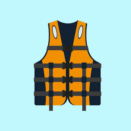 Life jackets isolated on blue background. Vector illustration.