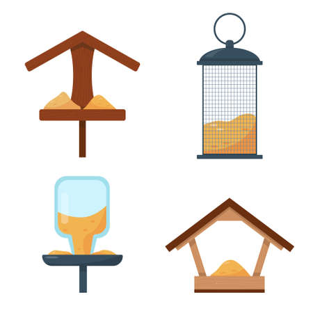 Set of different types of bird feeders isolated on white background. Vector illustration.