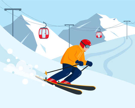 Skier in the snow mountains. Ski resort and winter sport concept. Vector illustration.