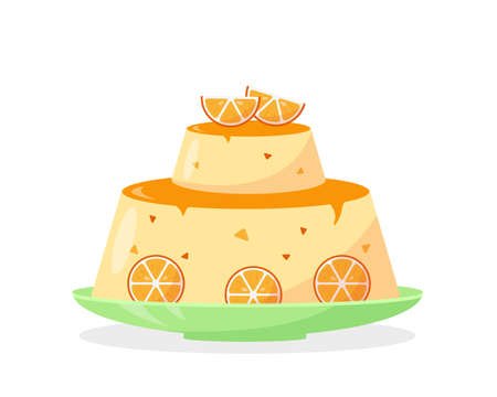 Orange homemade cake or pudding with orange slices isolated on white background. Fruit sweet dessert. Vector illustration.