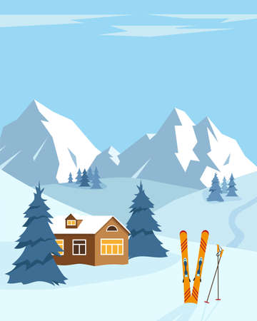 Snow winter landscape with ski. Snow mountains, trees and small house. Ski resort concept. Vector illustration. Vetores
