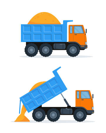 Two orange dump trucks with blue closed and open body with sand. Vector illustration on white background.
