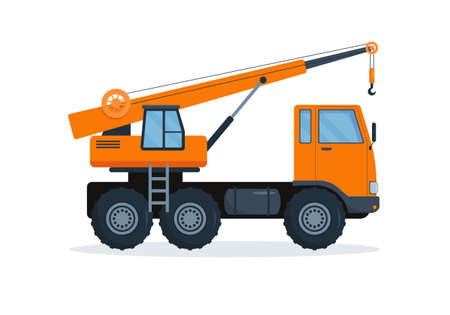 Crane truck. Heavy industry machine. Construction equipment. Vector illustration on white background.