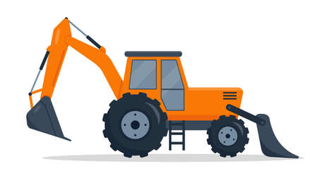 Backhoe loader. Heavy construction machines. Crawler bulldozer isolated on white background. Digger machine or excavator vector illustration.