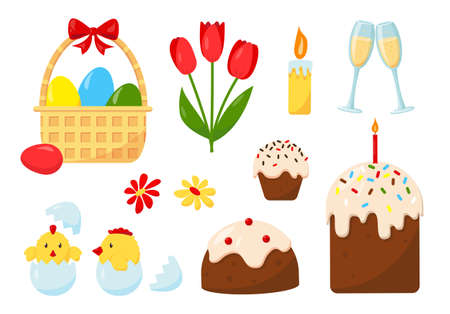 Big set of design elements for the Easter holiday. Easter eggs, cakes, chickens, candles and flowers. Vector icons illustration isolated on white background.
