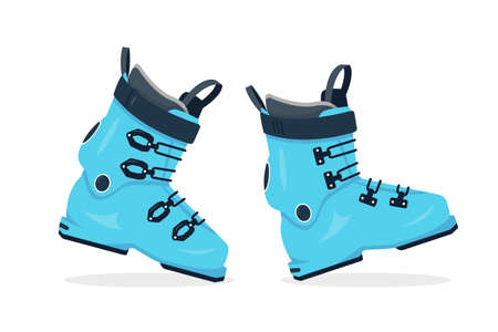 A pair of Ski shoes isolated on white background. Winter sport equipment icon. Blue ski boots vector illustration.  イラスト・ベクター素材