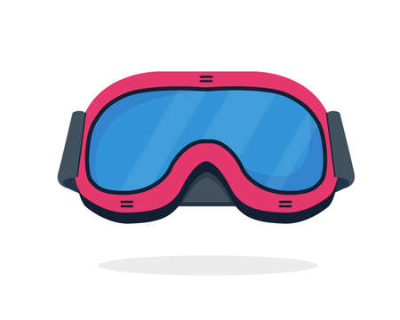 Ski or snowboarding goggles isolated on white background. Winter sport accessories icon. Pink ski mask or glasses vector illustration.