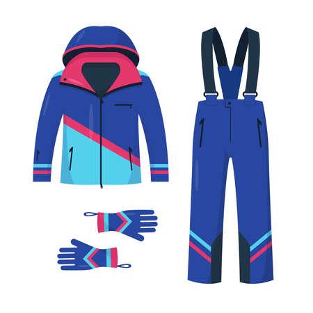 Clothing for skiing and snowboarding. Bright jacket, pants and gloves for winter sport and walk. Vector illustration on white background.