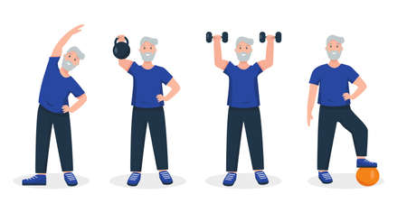 Senior man doing sport exercises. Active and healthy lifestyle and fitness for retired people concept. Vector illustration on white background.  イラスト・ベクター素材