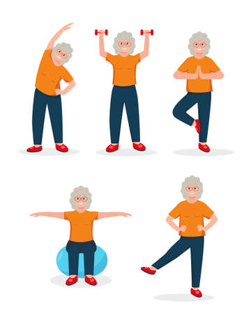Senior woman doing sport exercises. Active and healthy lifestyle concept. Retired person character. Vector illustration icons on white background.  イラスト・ベクター素材