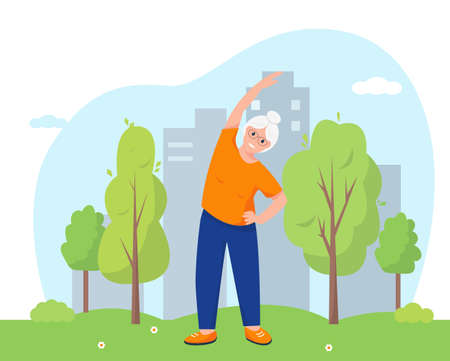 Senior woman doing exercises in the park near city. Active and healthy lifestyle and sports for retired people concept. Vector illustration.