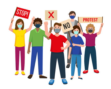 A group of people in masks standing together with banners and protesting. Male and female protesters or activists. Political meeting, parade or rally. Vector illustration on white background.  イラスト・ベクター素材