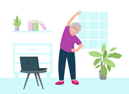 Senior woman doing sport exercise online staying at home. Home fitness or online yoga concept. Healthy and active lifestyle template or banner. Vector flat illustration.