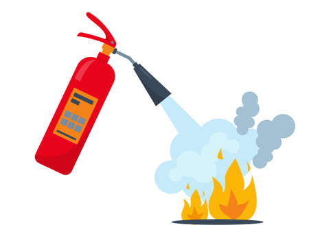Red fire extinguisher and burning fire with smoke. Fire extinguishing equipment. Vector icon illustration.