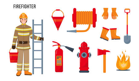 Firefighter character and set of fire extinguishing equipment and tools for his work. Fireman profession concept. Vector icons illustrations isolated on white background.