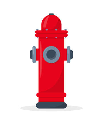 Red fire hydrant isolated on white background. Fire extinguishing equipment. Vector icon illustration.  イラスト・ベクター素材