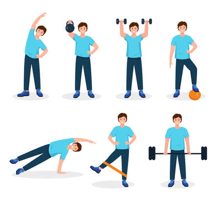 Young man doing sport exercises. Fitness, workout, gym set. Active and healthy lifestyle for people concept. Vector character icons on white background.  イラスト・ベクター素材