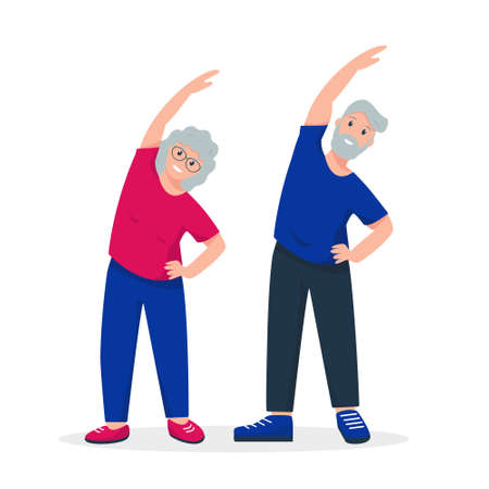 Elderly couple doing sport exercises. Finess for senior man and woman or family. Active and healthy lifestyle of retired people concept. Vector illustration on white background.