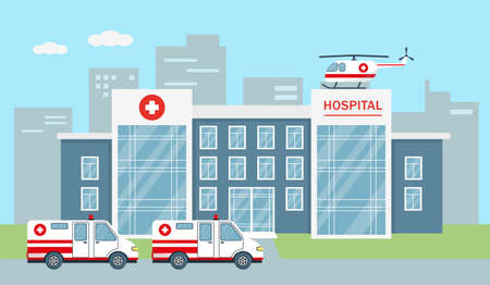Hospital building with ambulance car and helicopter in city. Medicine, healthare or emergency service concept in flat style. City background vector illustration.