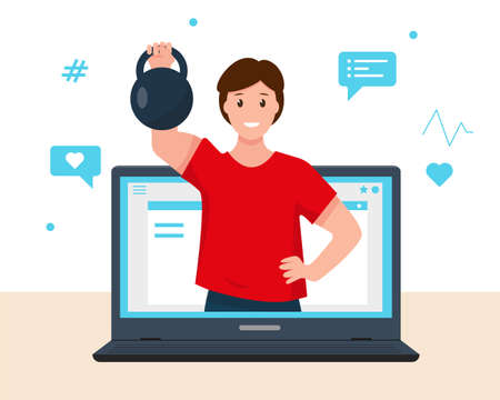 Fitness online course concept. Online personal trainer or web virtual sport instructor. Fitness webinar or advices on diet, weight loss, goals setting. Vector illustation on white background.