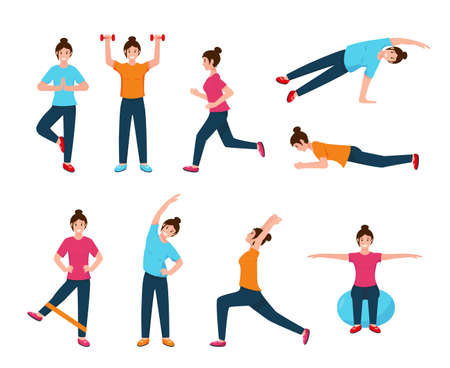 Young woman doing sport exercises. Active and healthy lifestyle concept. Female fitness character in different poses. Vector illustration icons on white background.