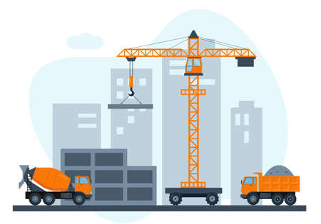 Construction site with crane and heavy construction equipment. Building house in city. Vector illustration.  イラスト・ベクター素材