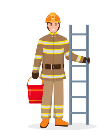 Firefighter character with fire escape and bucket. Profession people concept. Fireman vector illustration isolated on white background.