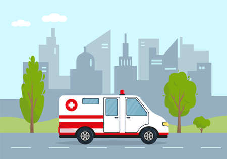 Ambulance car in city. Medical vehicle or emergency service concept. Vector illustration.