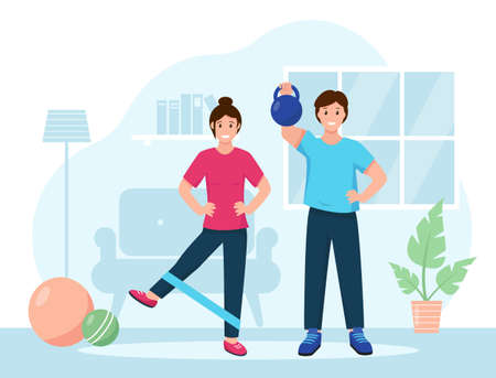 Sports at home. Happy guy and girl do a workout in the room. Fitness training exercises, healthy lifestyle concept. Vector illustration in flat style.