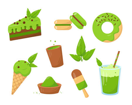 Sweet set of desserts made from matcha. Tea, cake, donut and icecream. Vector illustrations isolated on white background.  イラスト・ベクター素材