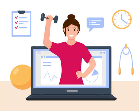Woman fitness or sport online course concept. Online personal trainer or web virtual sport instructor. Fitness webinar or advices on diet, weight loss, goals setting for women. Vector illustation.