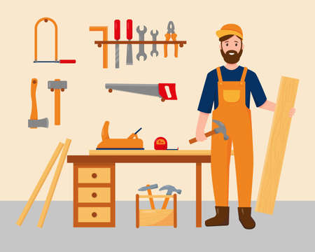 Carpenter in his workplace with work tools. Profession people concept. Carpenter character near desk with wooden boards and tools. Vector illustration.  イラスト・ベクター素材