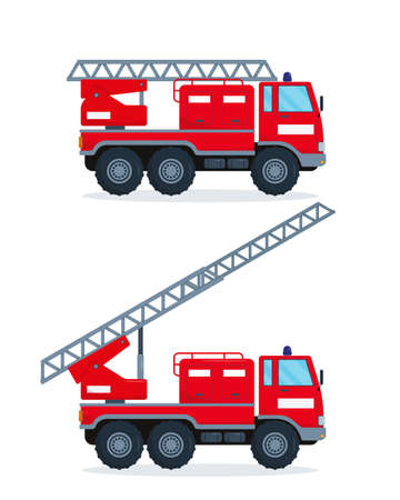 Two fire engines isolated on white background. Red fire trucks with escapes. Emergency vehicle vector illustration.