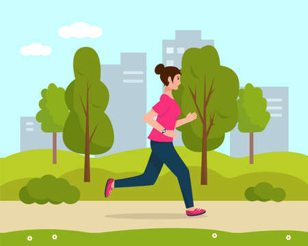 Young woman running in the city park. Active and healthy lifestyle and sports outside concept. Vector illustration.