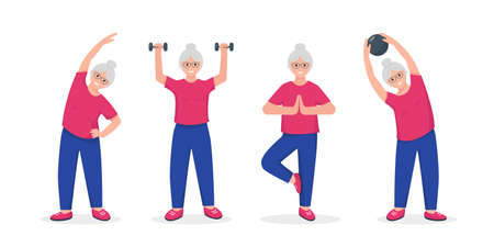 Senior woman doing exercises. Active and healthy lifestyle and fitness for retired people concept. Vector illustration on white background.