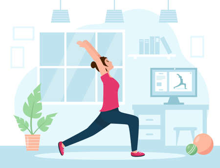 Yoga or fitness training at home. Happy girl do stretching in the room. Healthy lifestyle concept. Vector illustration in flat style.
