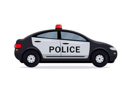 Black Police car side view. Cop, police officer auto, policeman patrol automobile. City transport icon isolated on the white background. Vector illustration.  イラスト・ベクター素材