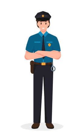 Police officer in uniform standing in front view. Profession people concept. Job at police station. Policeman vector character illustration isolated on white background.
